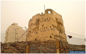 The ruins of the Qaynuqa fortress.