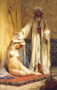 La perla del mercader (The Merchant's Pearl) (1884) by Chilean painter Alfredo Valenzuela Puelma. Muslim slave markets were the subject of numerous paintings by classical artists.