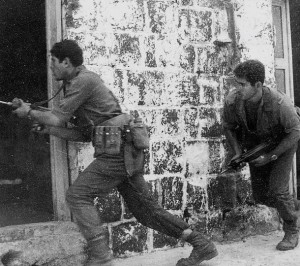 Emerging leader: Netanyahu, on the right, in training for combat