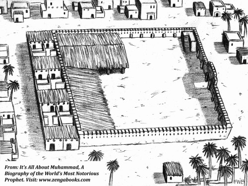 MUHAMMAD'S MOSQUE WAS HIS AL-QAEDA, meaning his base of operations. It was built after he arrived in Yathrib and served as a prayer area, residence, indoctrination center, and headquarters for the war he initiated first against his Meccan enemies and then against the Jews of Yathrib after they refused to accept him as their prophet.
