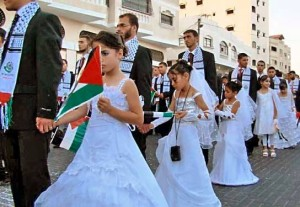 Mass marriage of adult males to young girls that took place recently in Gaza.